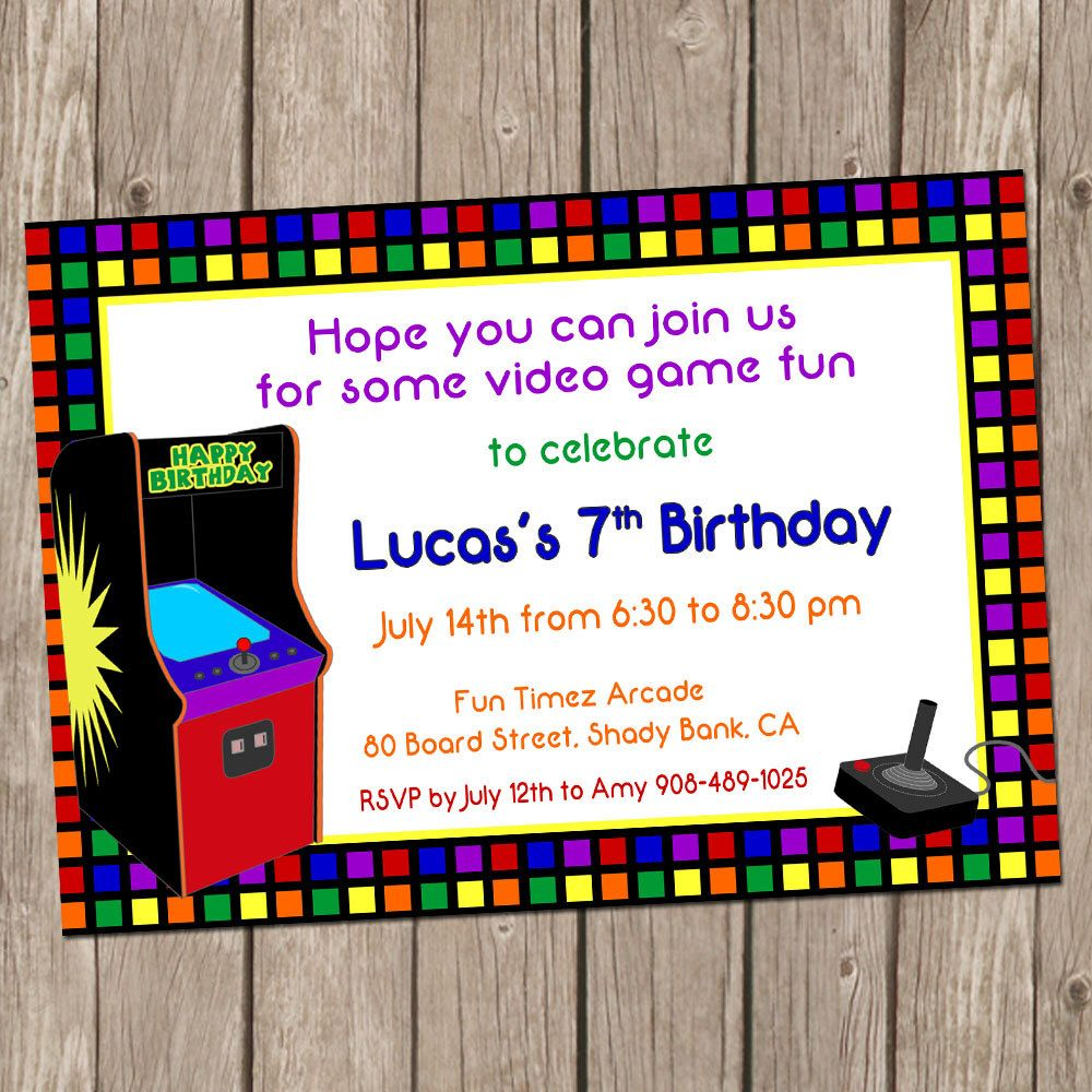 Video Game Birthday Invitation Arcade Birthday Arcade Invitation - Birthday invitation video
