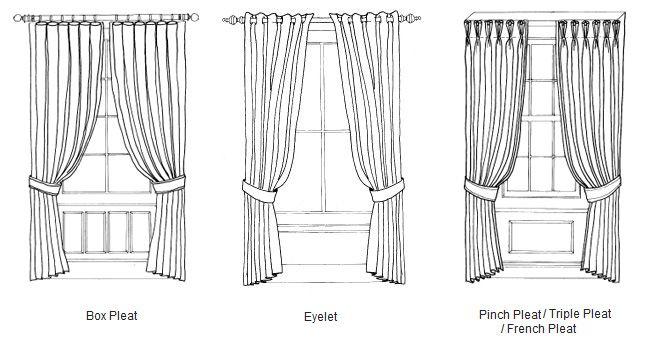 Curtain Styles: Box Pleat, Eyelet, And Pinch Pleat/ Triple Pleat