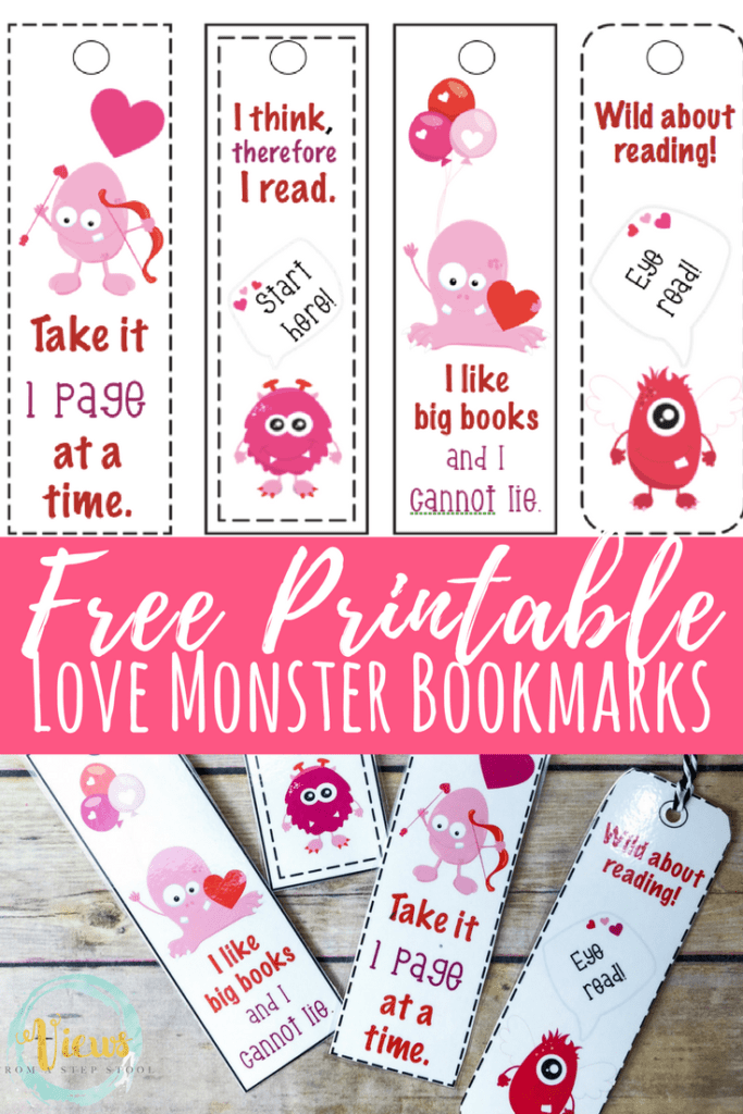 picture about Printable Valentines Bookmarks identified as Absolutely free Printable Bookmarks: Amusing Monster Valentines Working day