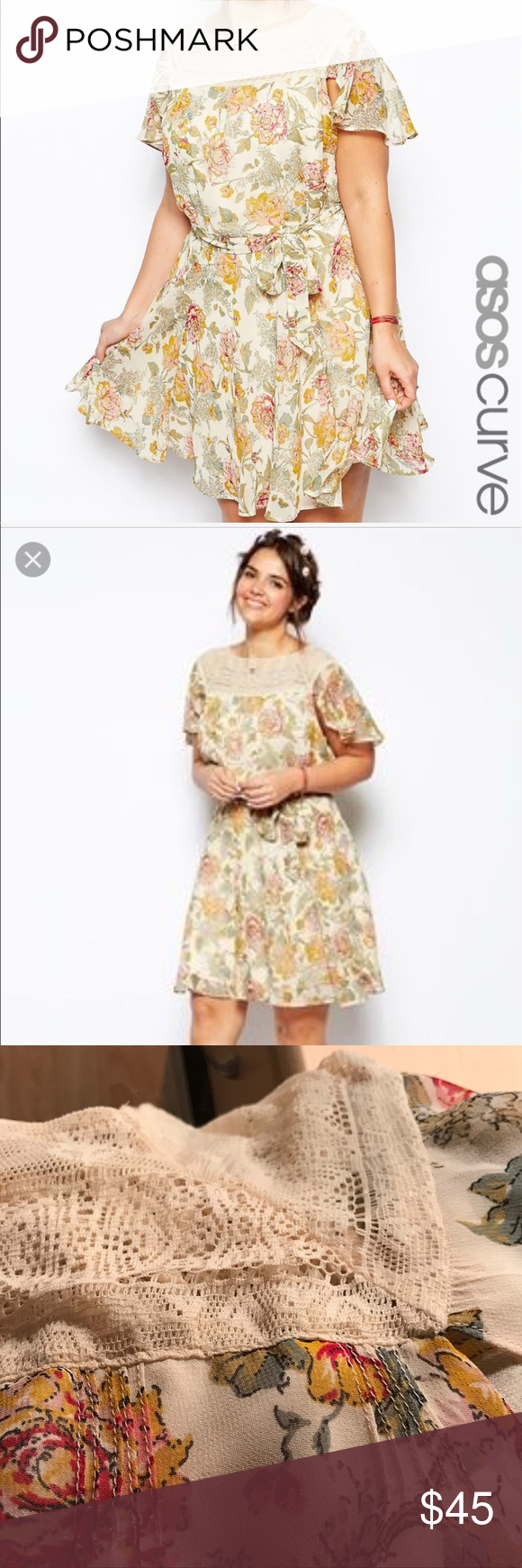 Asos curve floral skater dress with lace insert perfect spring or