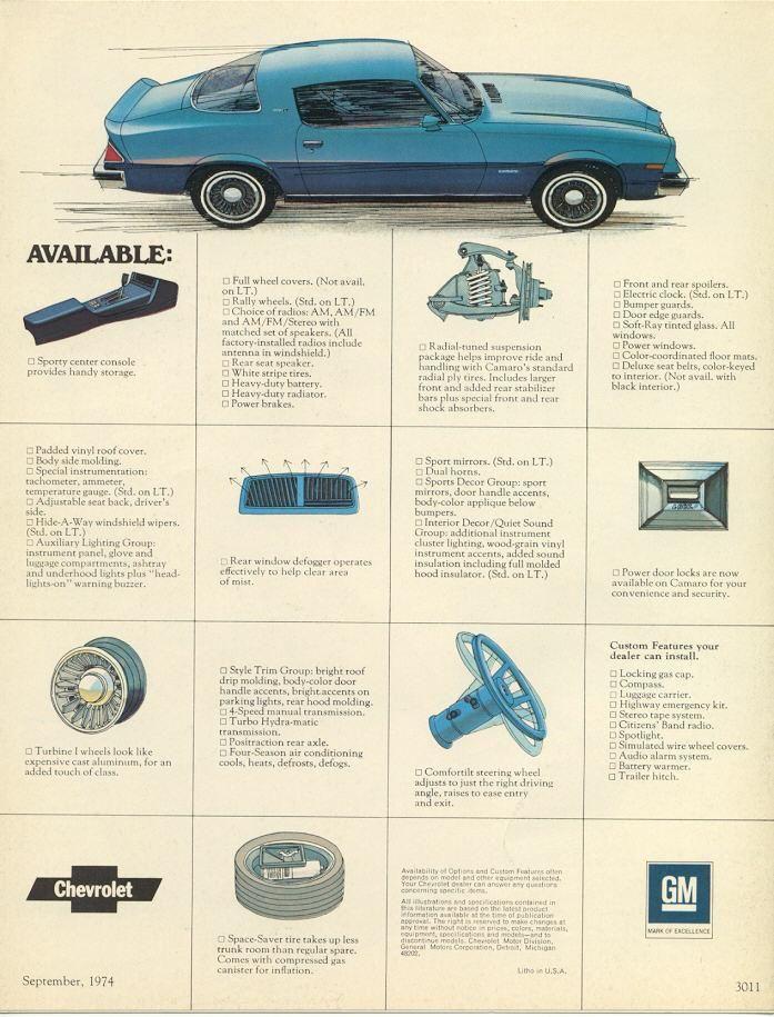 1975 Camaro Sales Brochure Camaro Chevrolet Camaro Vintage Camaro