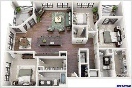 Casa De Una Planta En Lote De 1000 Metros Buscar Con Google Planos De Casas Planos Para Construir Casas Planos De Casas 3d