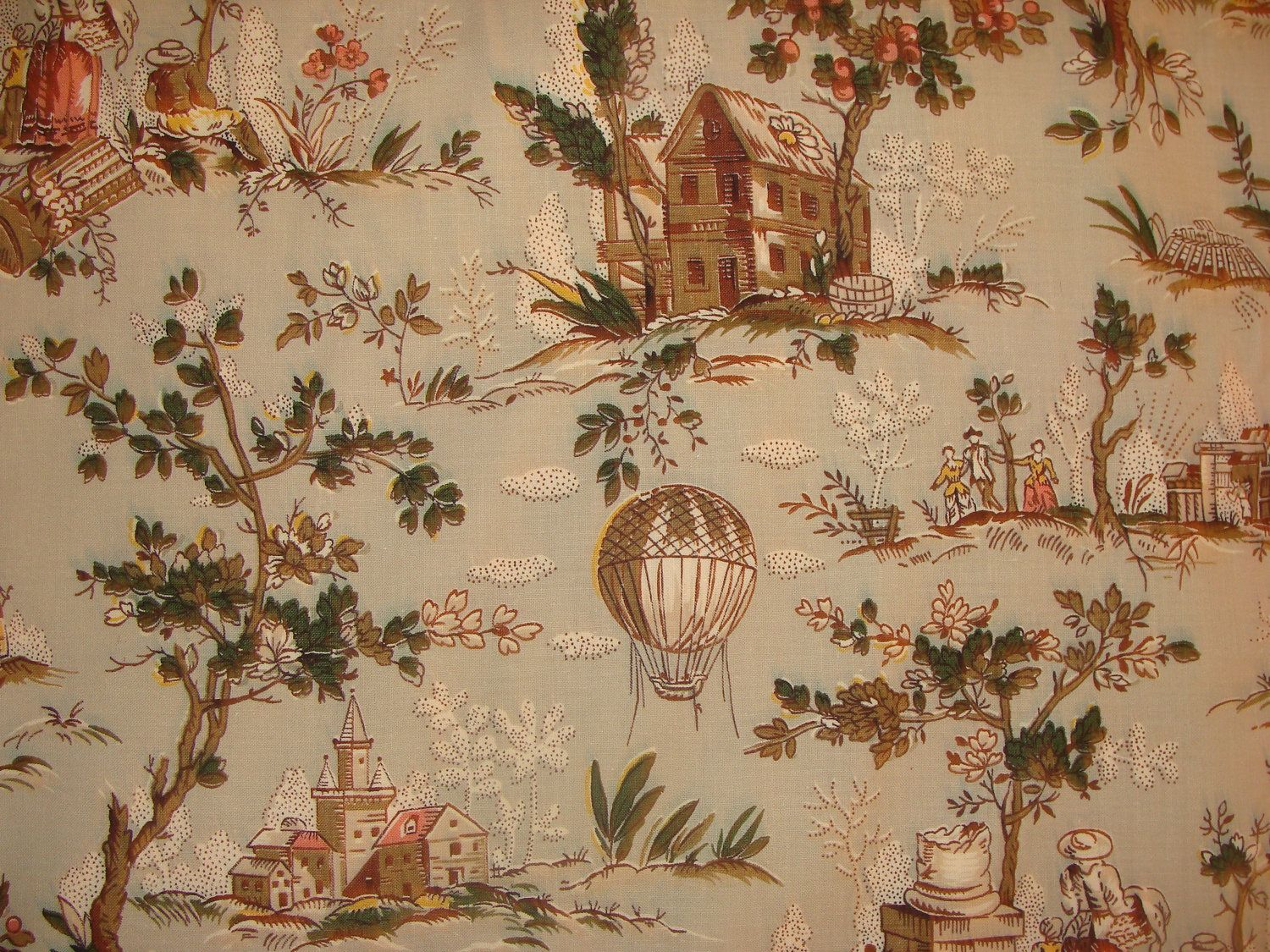 1930s France Balloon Toile De Jouy Fabric Toile Toile