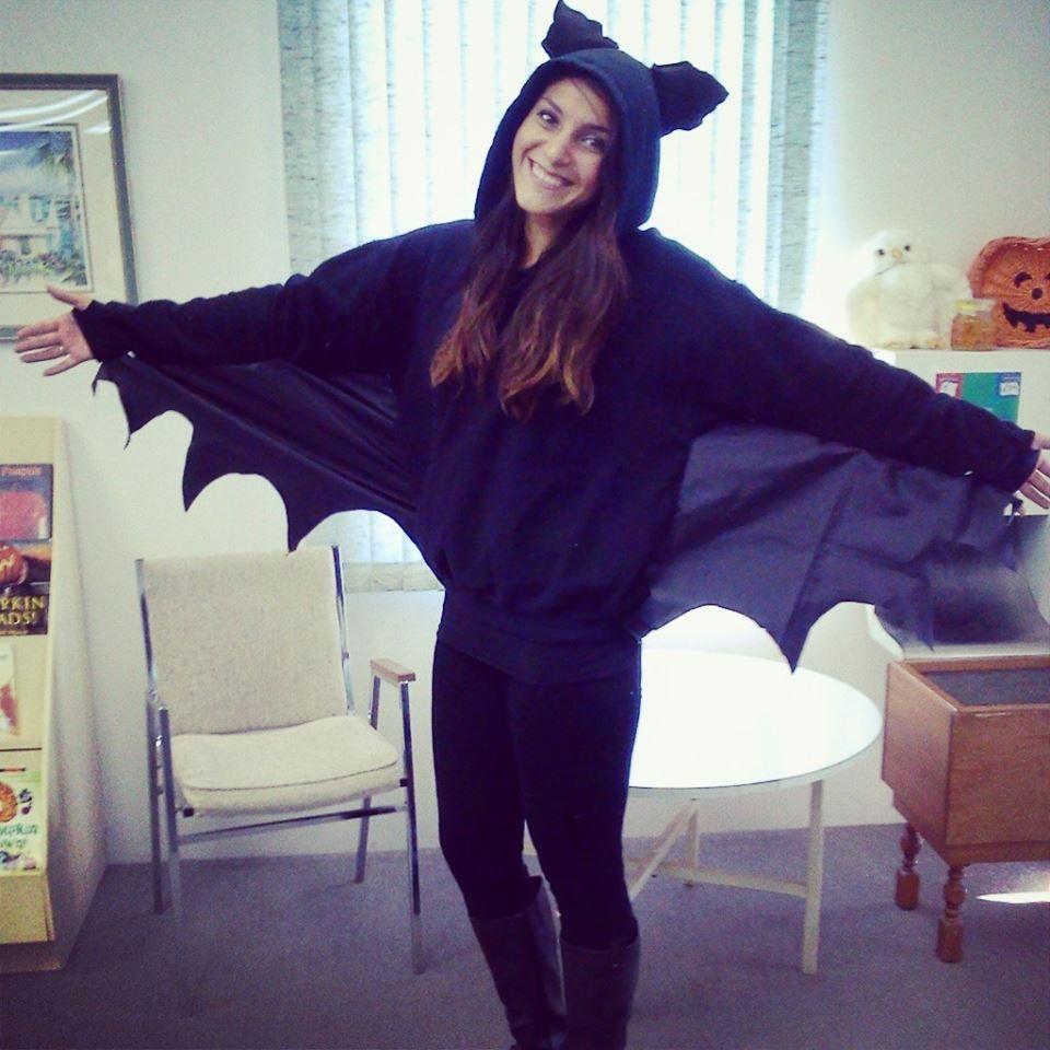 DIY bat costume. hoodie+extra scraps for wings/ears+stuffing for ears+hot glue gun+ hand sewing