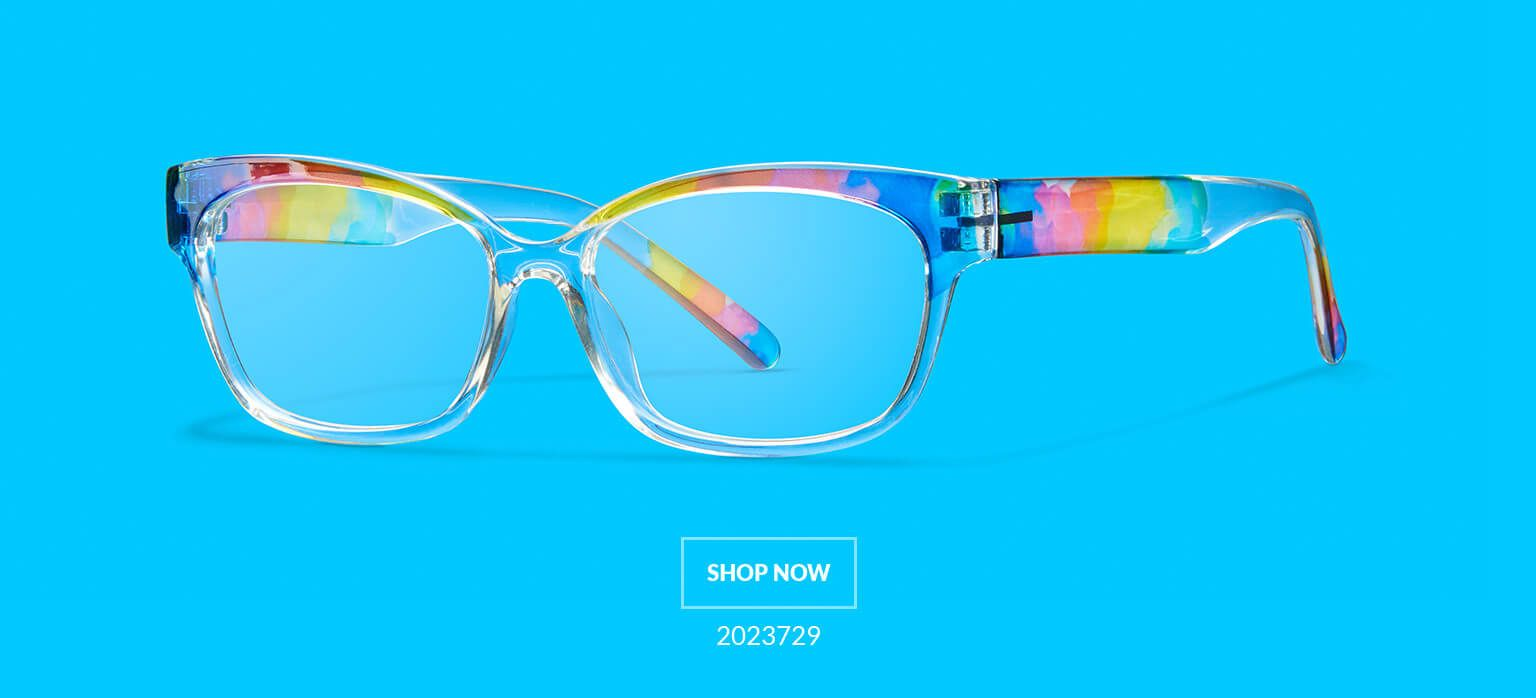 bff9f4bec1a Pride Rectangle Glasses  2023729 are clear with sheer rainbow detailing on  temple arms and browline.