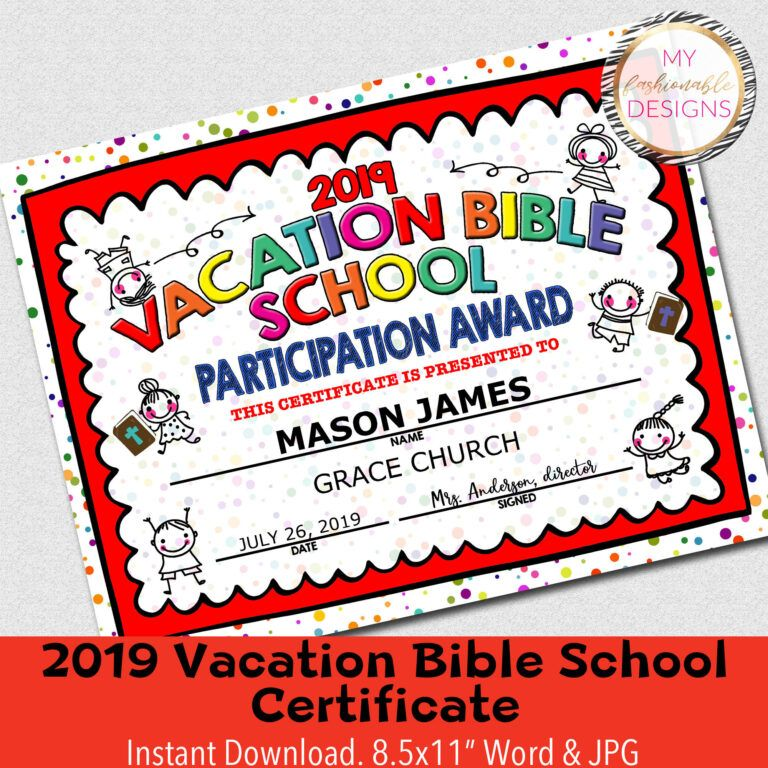 2019 Vbs Certificate, Vacation Bible School, Instant