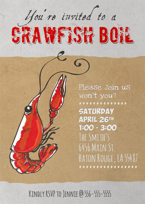 image relating to Crawfish Boil Invitations Free Printable known as Crawfish Boil Invitation printable PDF through MissMurrayDesign