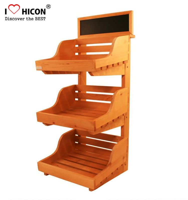Wood 3 Layer Food Display Stand From Hicon Pop Displays Limited