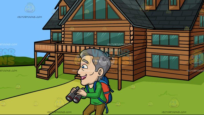 An Excited Mature Male Tourist At A Countryside Log House:  A mature man with gray hair wearing a green sweatshirt light brown pants red with white sneakers blue with orange backpack parts his lips to smile in delight as he holds a gray with red binoculars. Set in a beautiful house made of brown logs and dark grayish green roofing with balcony and green windows situated in the middle of a greenery with grass and trees.