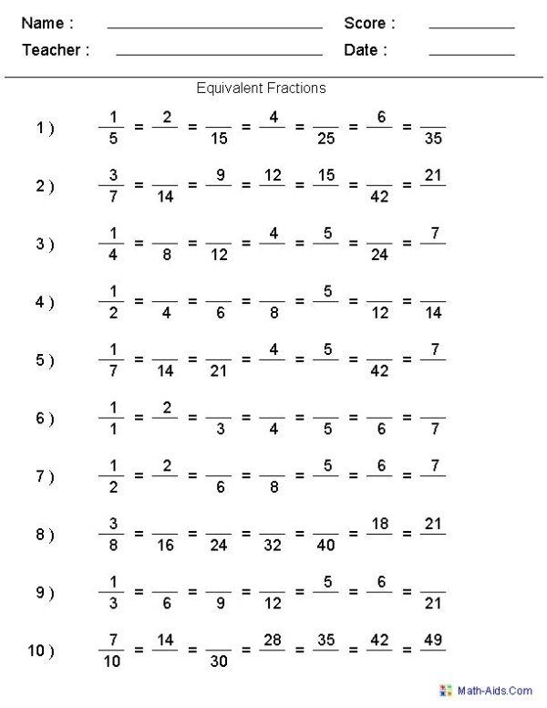Fractions Worksheets | Printable Fractions Worksheets for Teachers ...