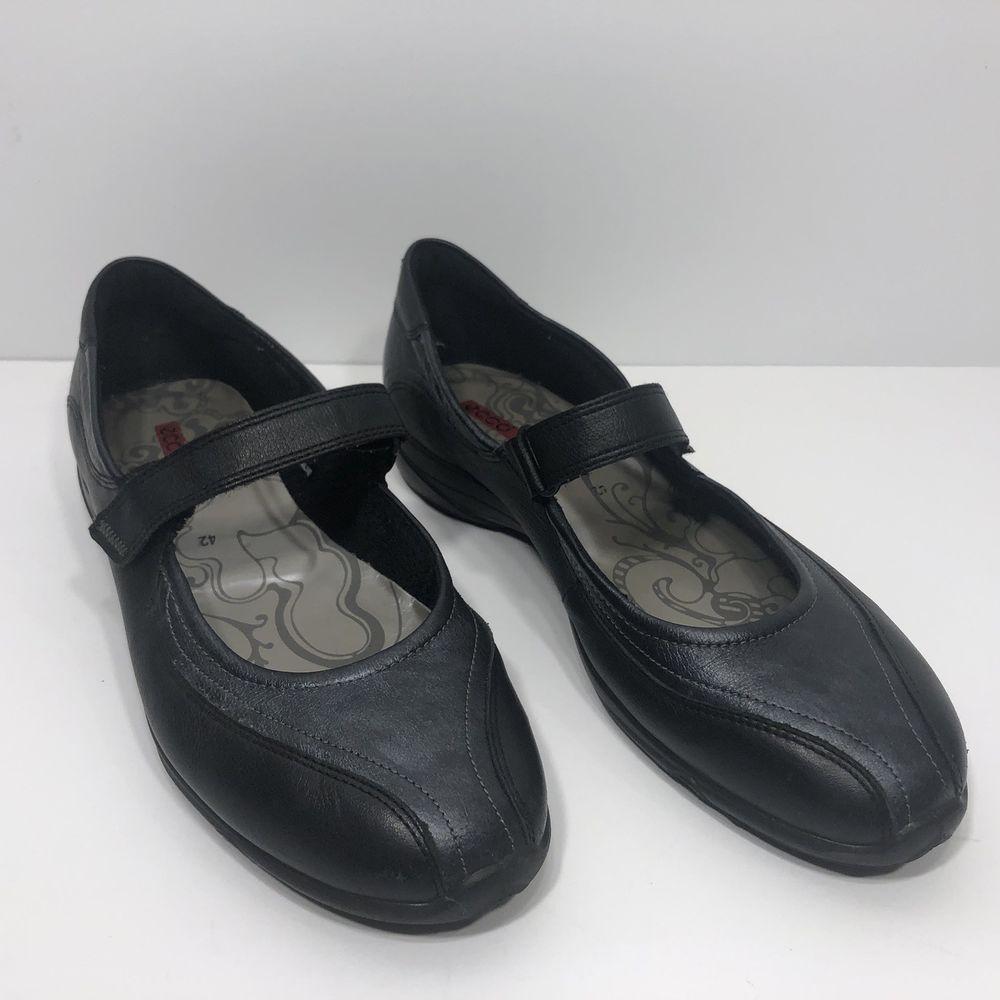 8b844d47 ECCO Cloud Black Blue Leather Mary Jane Wedge Heel Womens Shoes Sz ...