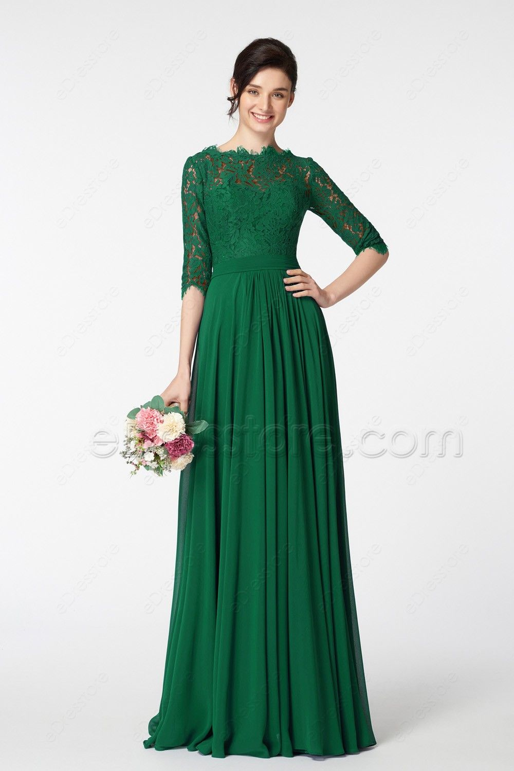 Emerald green modest mother of the bride dress with