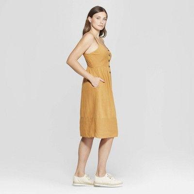 6bd627147b4 Women s Sleeveless V-Neck Button Front Midi Dress - Universal Thread Gold S