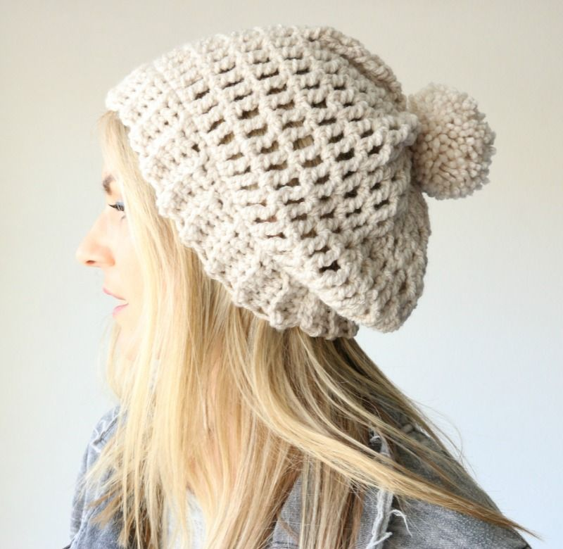 easy slouchy crochet beanie | Crochet (& knitting) Ideas | Pinterest