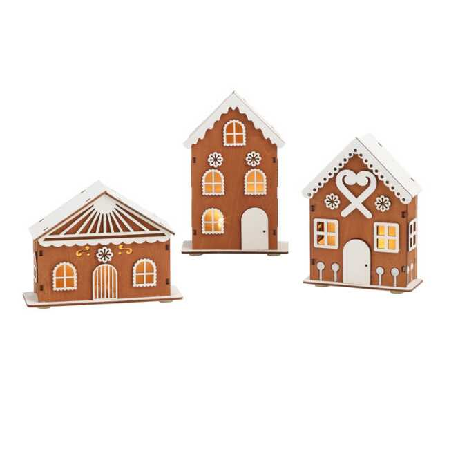 Wood Gingerbread House Led Light Up Decor Set Of 3 Gingerbread House Cool Gingerbread Houses Plaid Christmas Decor