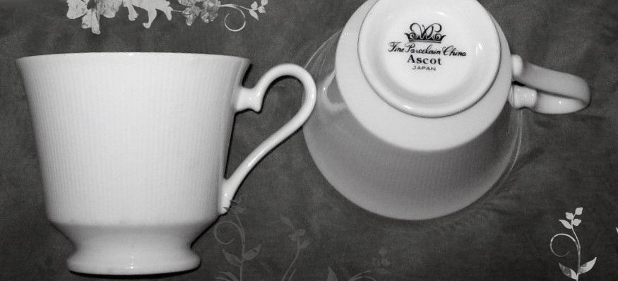 """Japan"""" Ascot"""" Pattern Fine Porcelain China, Coffee or Tea Cup White Ribbed Edges, Lines"""