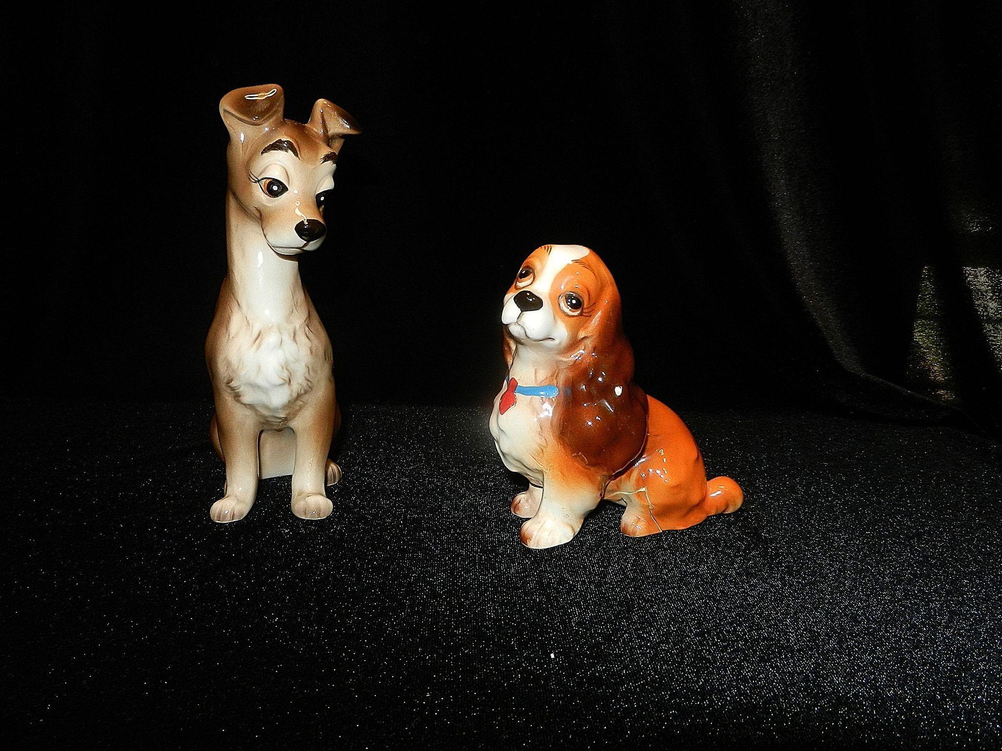 Vintage Ceramic Walt Disney Lady And The Tramp Dog Figurines Dog Figurines Animal Figurines Vintage Ceramic