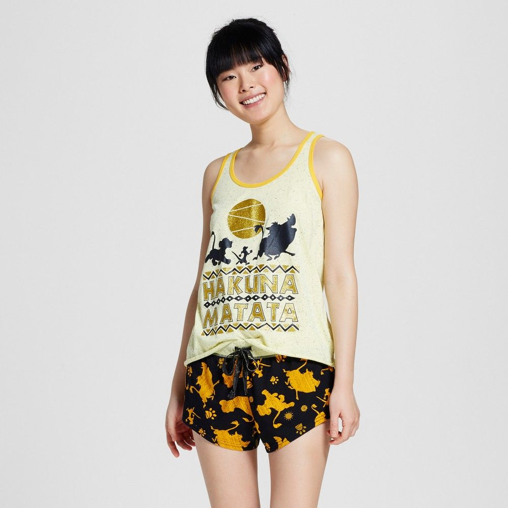 328c80991415 Disney The Lion King Women s Tank Boxer Pajamas Set - Yellow XL ...