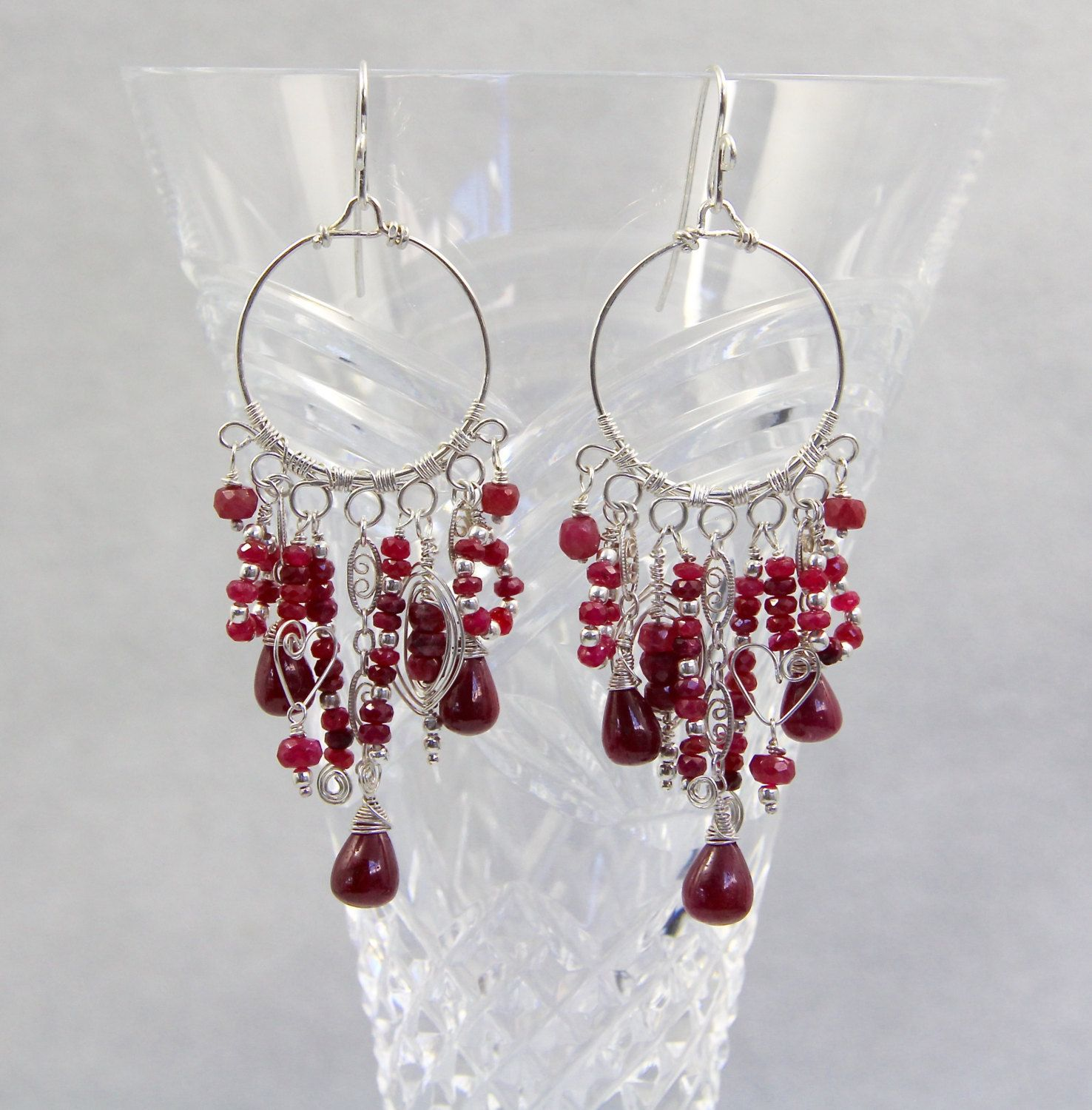 RESERVED. 1st Payment for Melanie. Ruby Chandelier Earrings ...
