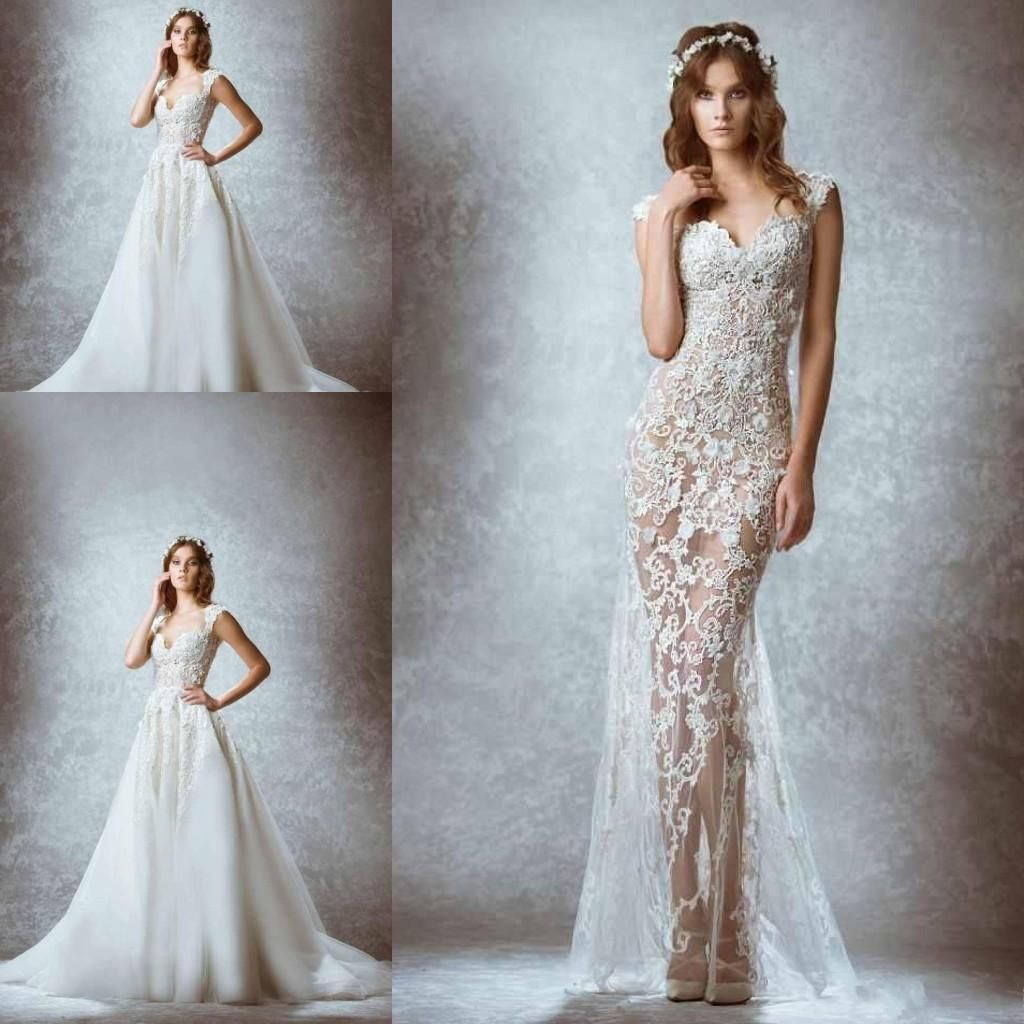 Zuhair Murad Wedding Dresses with Detachable Over Skirt Lace ...