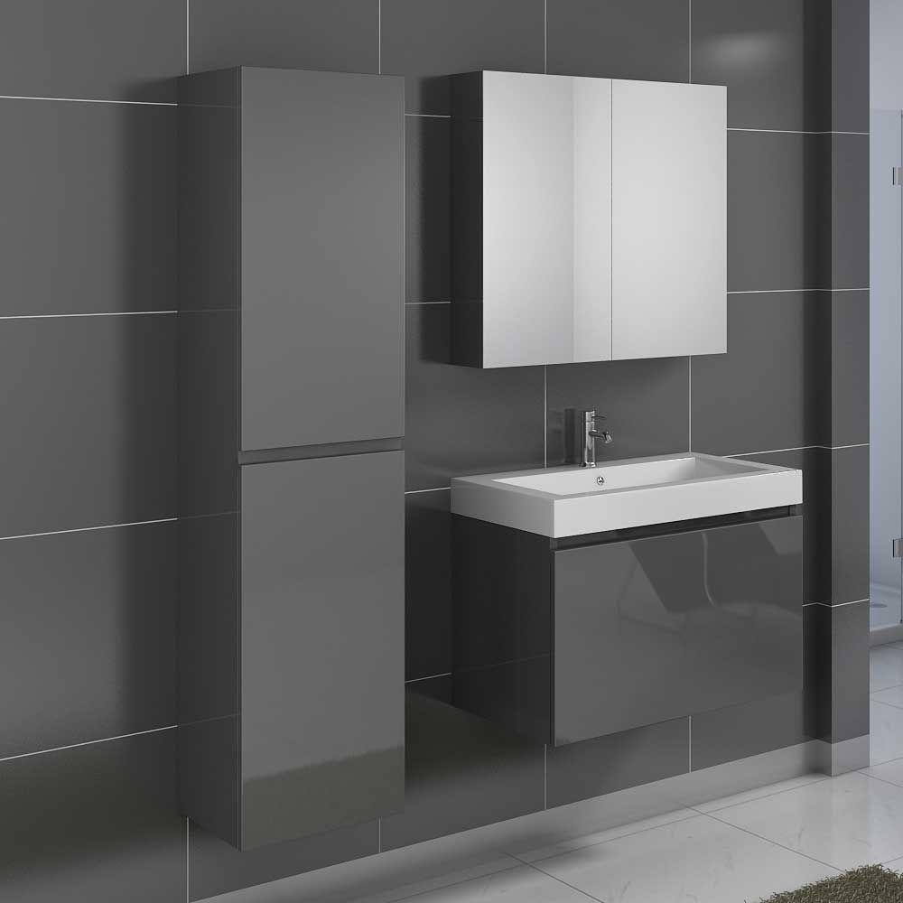 Badmöbel Komplettset In Grau Hochglanz Modern (3 Teilig) Jetzt Bestellen  Unter: Https