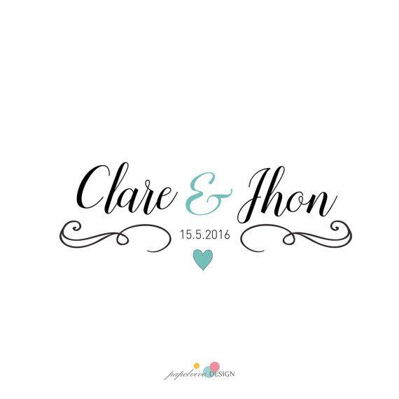 Premade logo design couple wedding modern