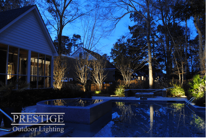 Next Outdoor Lighting Illuminating features next to a pool or pond can create beautiful prestige outdoor lighting installs unique walkway lights garden lamps and outdoor holiday lights in shallotte nc and the surrounding areas workwithnaturefo