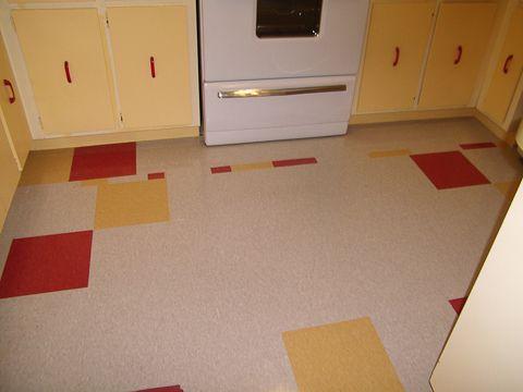 Jana S Cheerful Yellow Red And White Kitchen A 1 268 Transformation Red And White Kitchen Kitchen Flooring Vinyl Flooring Kitchen