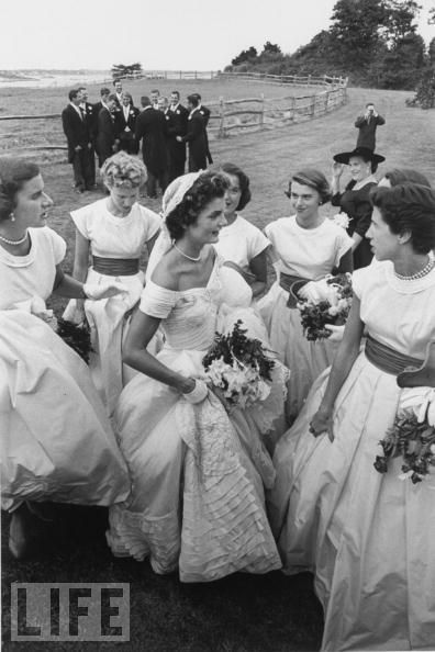 Jacqueline Bouvier and Her Bridesmaids  Hammersmith Farm, the Newport, R.I. mansion and estate of Jackie's stepfather, Hugh Auchincloss, is the site of her Sept. 1953 wedding reception
