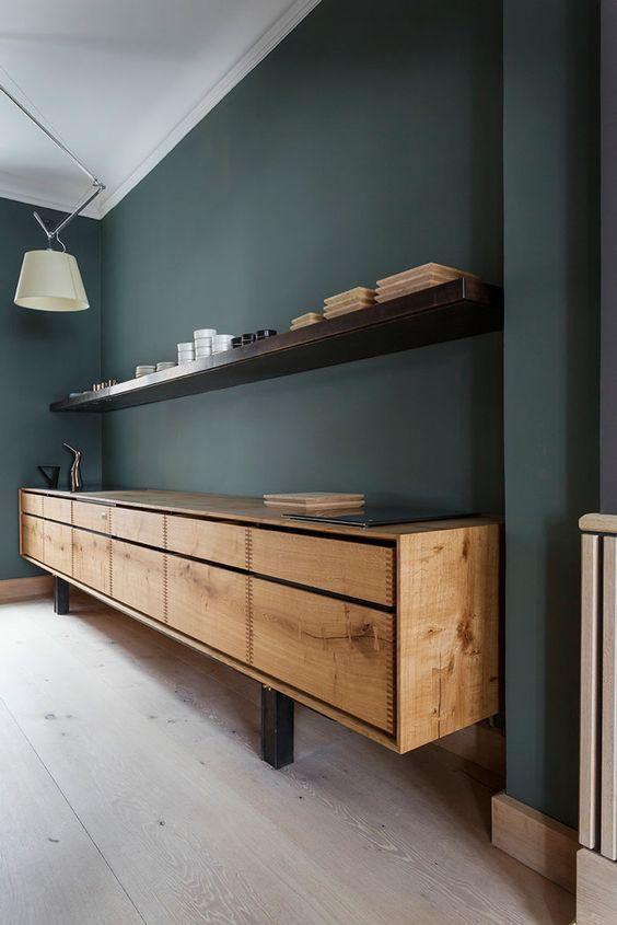 green is the new blue - soul inside - mur de cuisine vert salle à