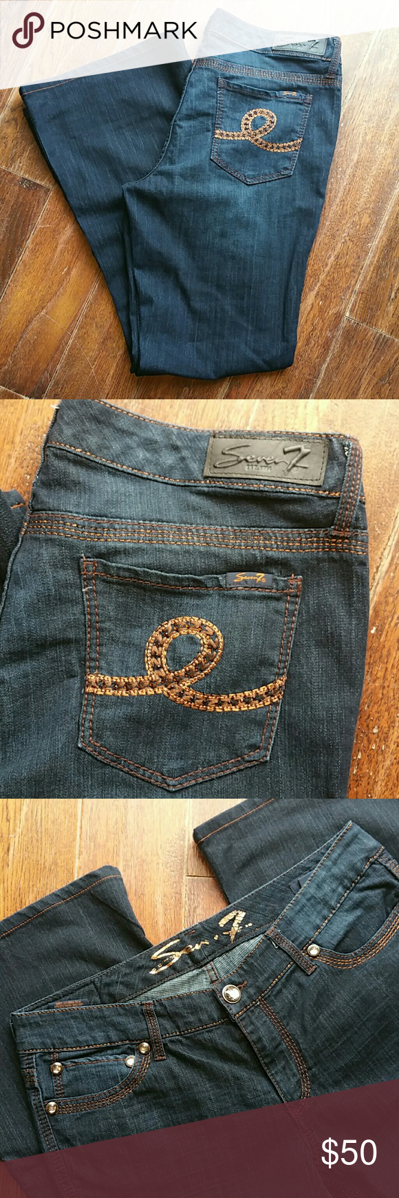 Seven 7 jeans EUC 14 A beautiful pair of dark wash denim  jeans size 14 with  strech, hems are flared and  in great condition threading design is a gorgeous copper color and pockets in front have diamond studs Seven7 Jeans Flare & Wide Leg