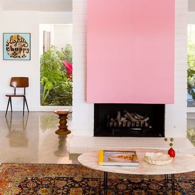 Image result for pink fireplace midcentury | Fireplaces | Pinterest ...