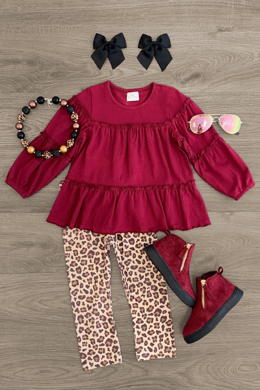 NEW Boutique Pink Ruffle Tunic Shirt /& Leggings Girls Outfit Set