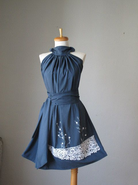 Romantic Dreamy Soft Navy and white lace and flowers Sleeveless Flowy Delicate Dress, $39.99, made by VintageFashionRetro