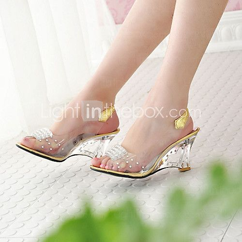 Details about  /New Womens Open Toe Clear Transparent Sandals High Wedge Heel Ankle Strap Shoes