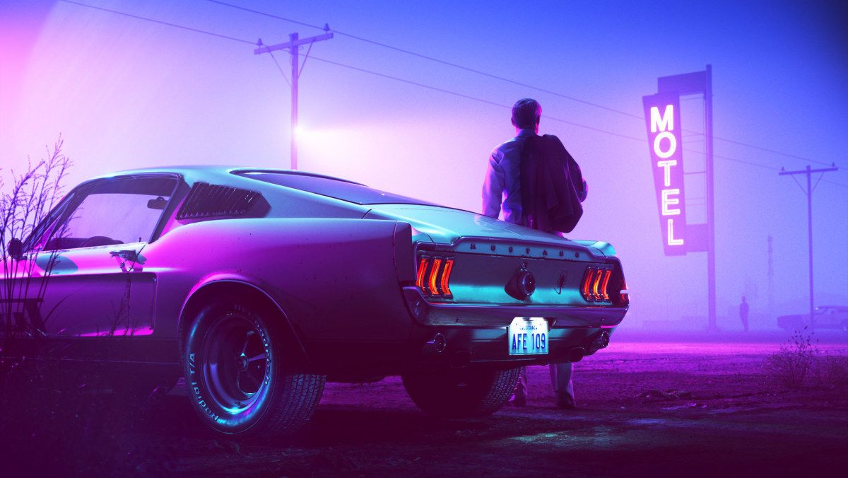 Wallpaper Of The Week 367 Neon Car Retro Wave Mustang Fastback