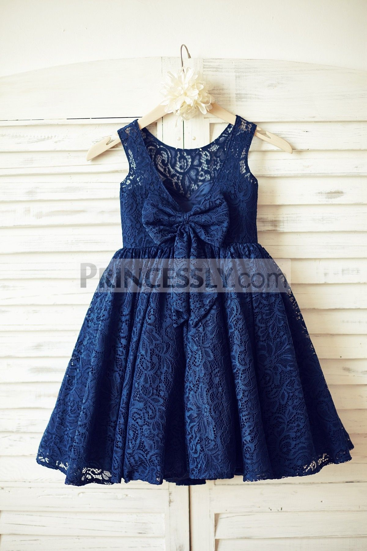 c28977526d62 Navy Blue Lace Flower Girl Dress with V back and big bow in 2019 ...