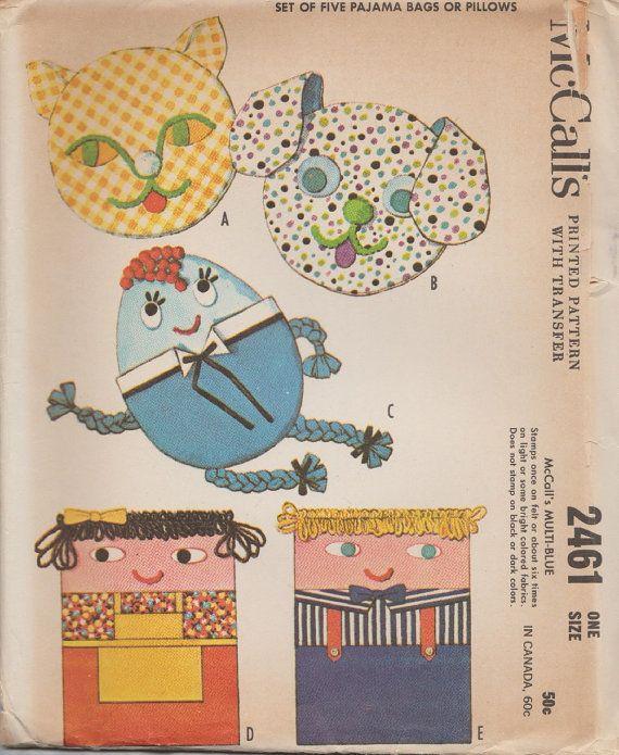 McCalls 2461 / Vintage 60s Craft Sewing Pattern / Pillow Pajama Bag ...