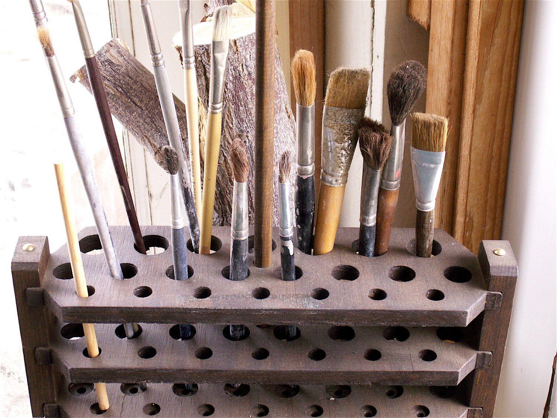 Handcrafted VTG Wooden Artist Brush n Tool holder OOAK. $25.00, via Etsy.