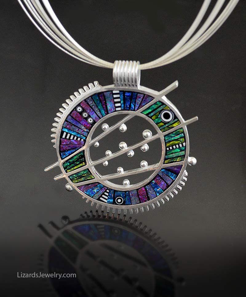 Sterling silver/fine silver 960 PMC pendant with polymer clay inlay. Liz Hall LizardsJewelry.com