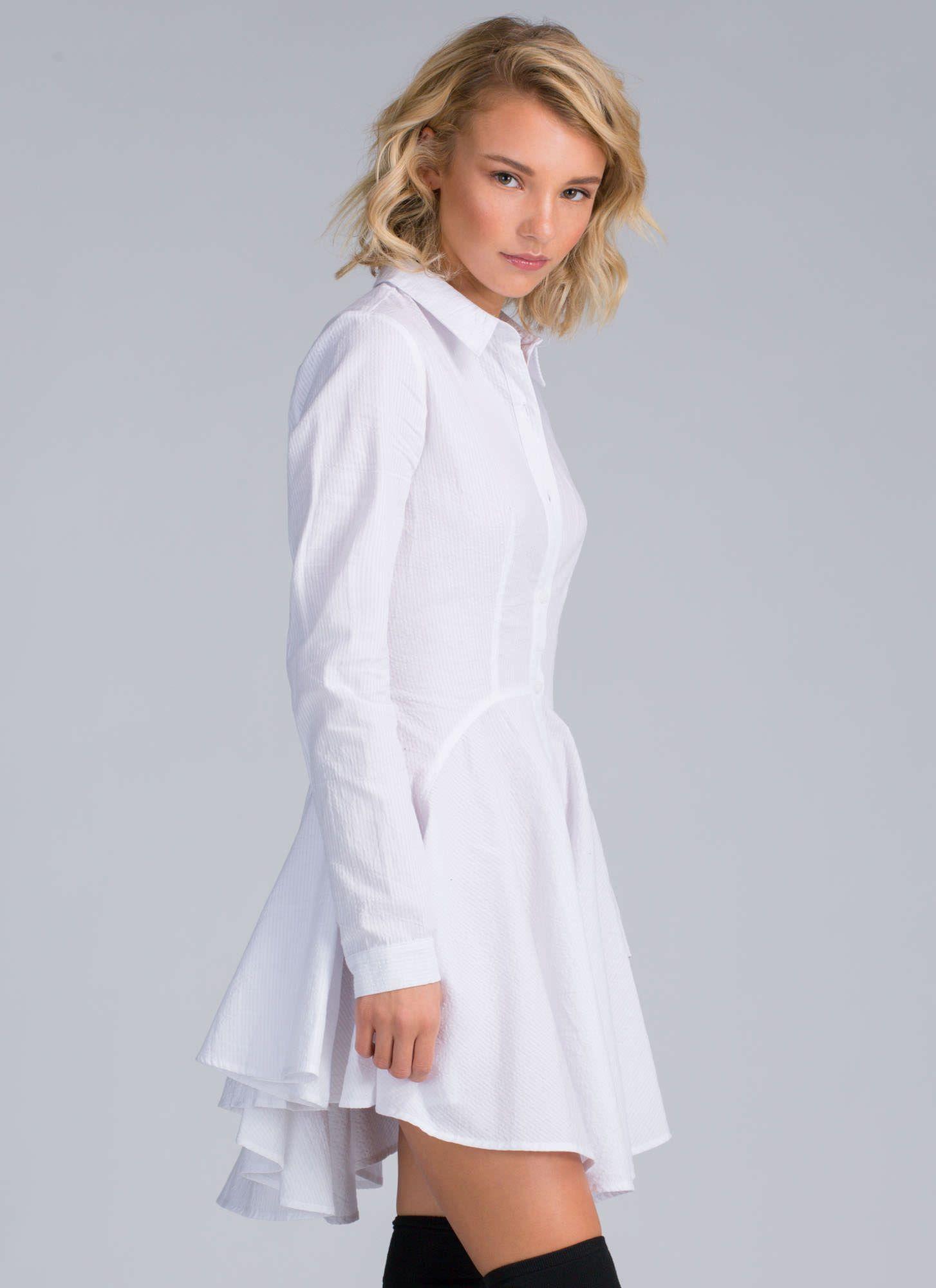 White collared shirt dress