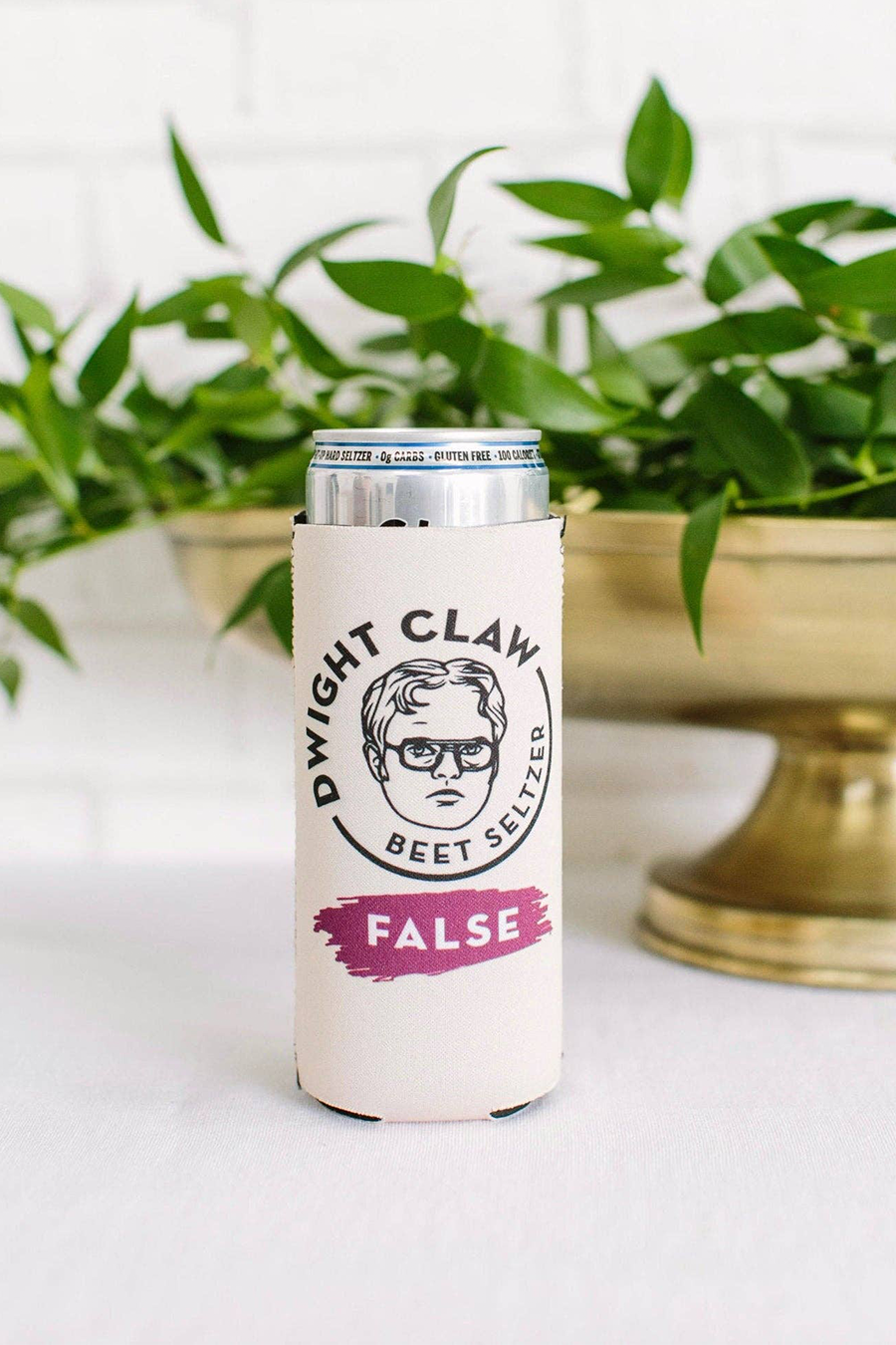 The Office Dwight Claw Slim Can Koozie In 2020 Custom Tumbler Cups The Office Dwight Custom Tumblers