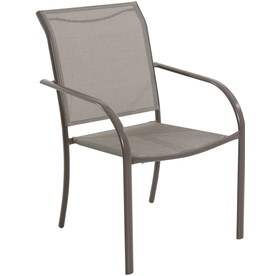 Garden Treasures Driscol Taupe Sling Steel Stackable Patio Dining Chair 6 Chairs Rectangle Gl Top