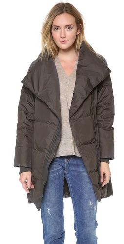 6ca28bfc7aaf Vince Leather Trimmed Asymmetic Puffer   SHOPBOP Puffer Jackets, Fall  Jackets, Tomboy Chic,