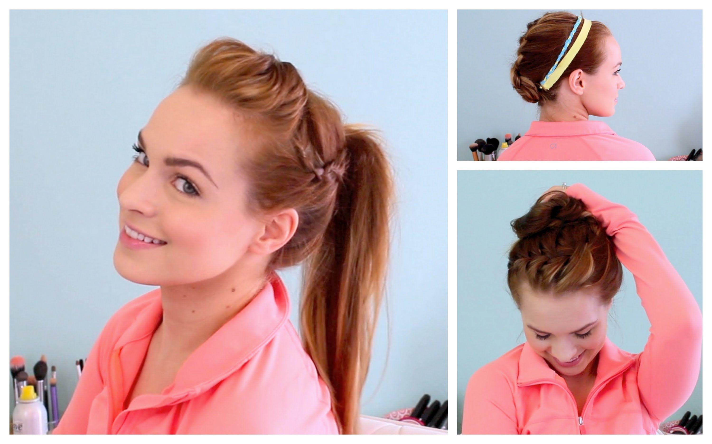 3 Workout Ready Hairstyles Diy Headband Fun Hairstyles