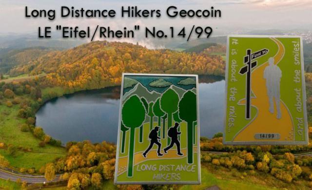 """Long Distance Hikers Geocoin LE """"Eifel/Rhein"""" No.14/99"""