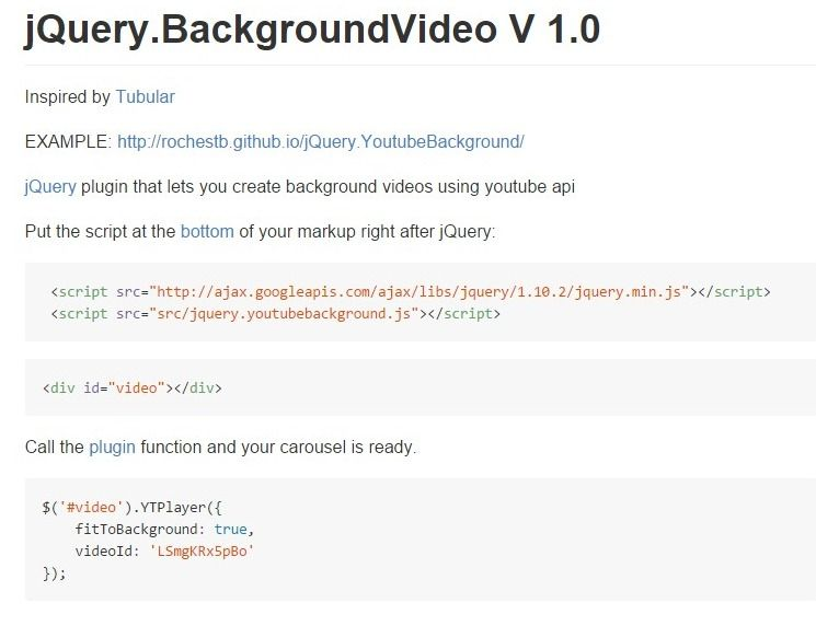 jQuery plugin that lets you create background videos using youtube