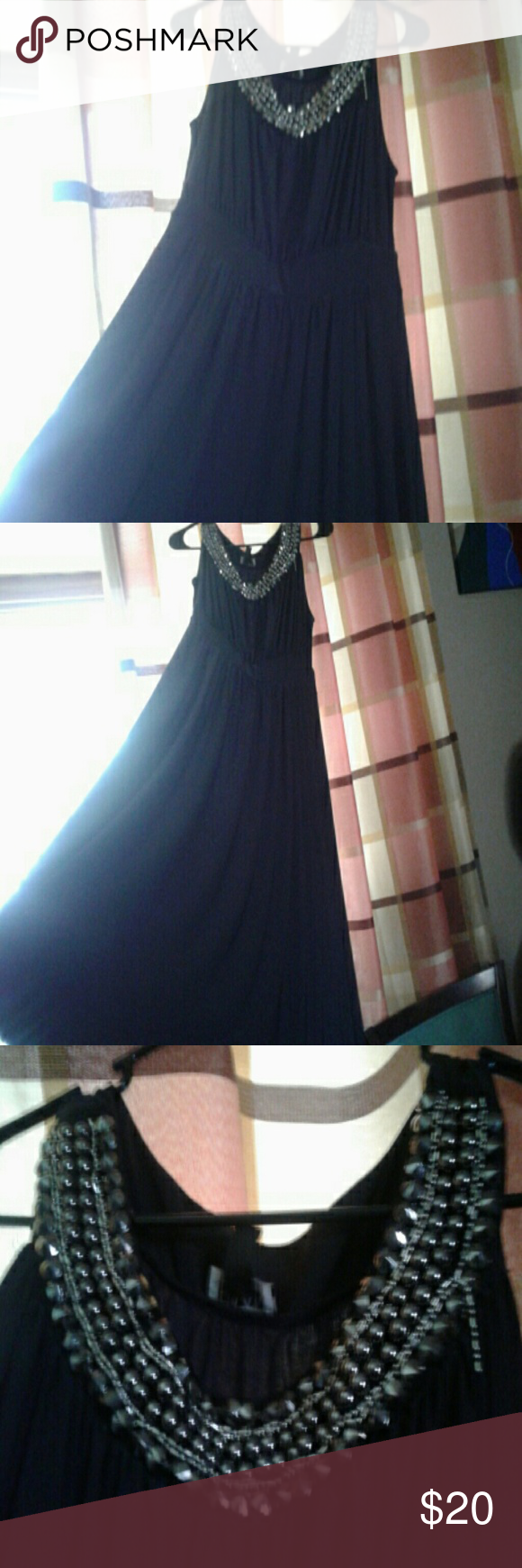 Haani dress long black dress with sequins and gems at the top minor