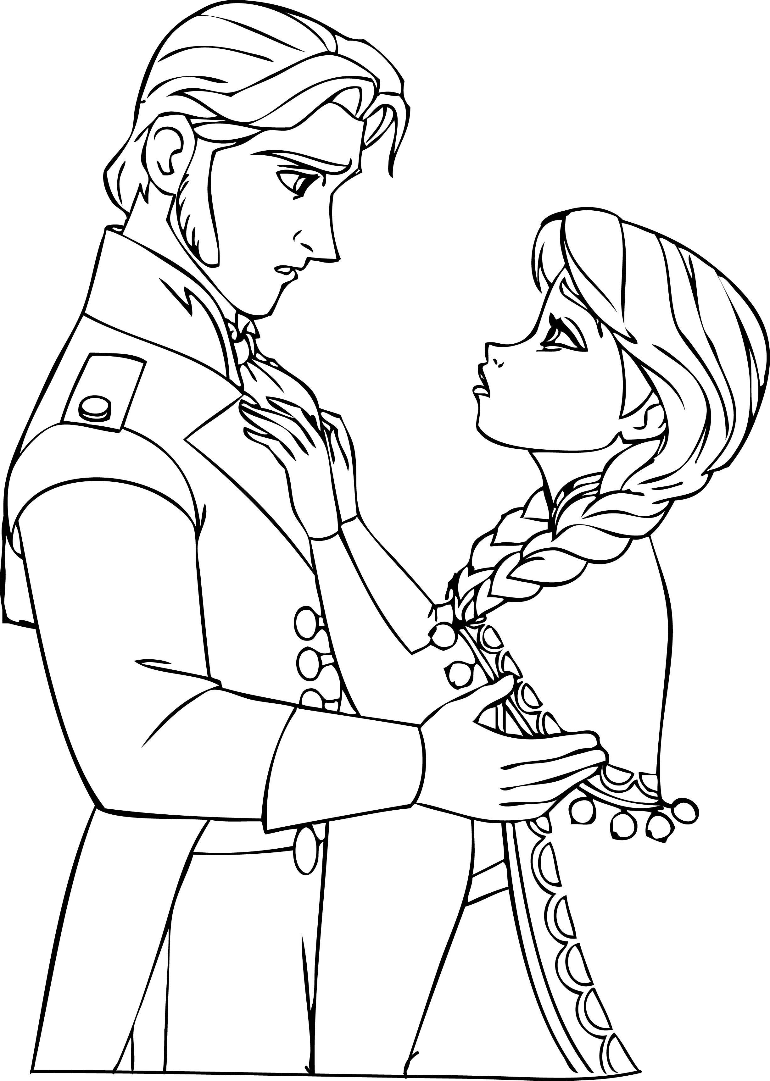 Anna Hans Frozen Coloring Sheet 01 Wecoloringpage Pinterest