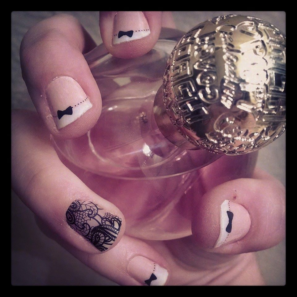 JBN Black Lace and French Tip Bows www.ijamitup.jamberrynails.net ...